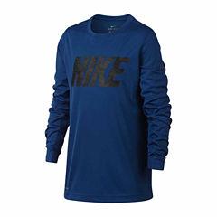 Nike Long Sleeve Crew Neck T-Shirt-Big Kid Boys