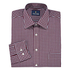 Stafford Travel Easy-Care Broadcloth - Big And Tall Long Sleeve Broadcloth Plaid Dress Shirt