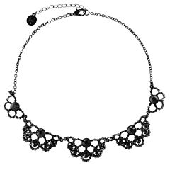 Liz Claiborne Womens Black Collar Necklace
