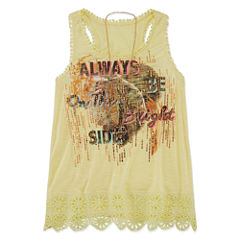 Beautees Graphic Tank Top with Necklace - Girls' 7-16
