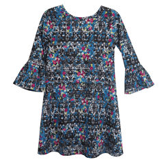 City Streets 3/4 Sleeve Bell Sleeve Skater Dress - Big Kid Girls