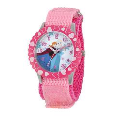Disney Frozen Anna and Elsa Kids Time Teacher Pink Nylon Strap Watch