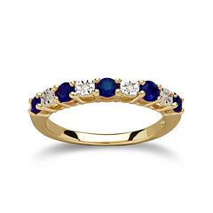 Genuine Blue Sapphire Diamond-Accent 10K Yellow Gold Ring