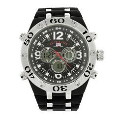 U.S. Polo Assn.® Mens Black Silicone Strap Analog/Digital Watch
