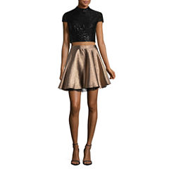 City Triangle Short Sleeve Dress Set-Juniors