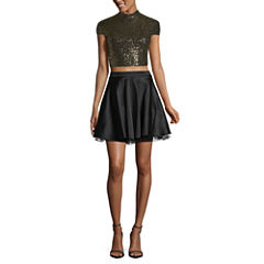 City Triangle Short Sleeve Party Dress-Juniors