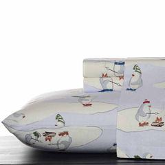 Eddie Bauer® Skating Penguins Easy Care Flannel Sheet Set