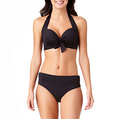 Liz Claiborne Solid Bra Swimsuit Top or Fold Over Hipster