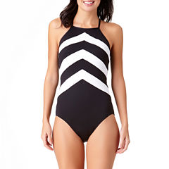 Liz Claiborne Chevron One Piece Swimsuit