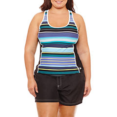 Zeroxposur Stripe Tankini Swimsuit Top or Woven Board Short - Plus