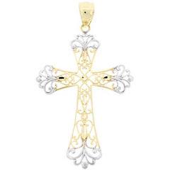 10K Two-Tone Gold Cross Pendant