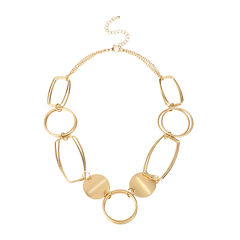 Bold Elements™ Gold-Tone Disc and Link Necklace