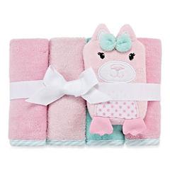 Okie Dokie Girl 4 Pack Wash Cloth Set- Pink Cat