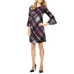 Jessica Howard 3/4 Bell Sleeve Plaid Shift Dress
