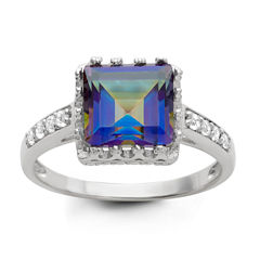 Womens Genuine Blue Mystic Fire Topaz Sterling Silver Cocktail Ring