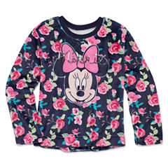 Disney Crew Neck Long Sleeve Minnie Mouse Blouse - Big Kid Girls
