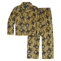 Khaki Dino Coat Front Pajama Set - Boys