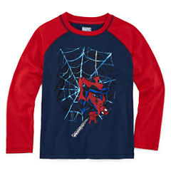 Long Sleeve Spiderman T-Shirt-Preschool Boys