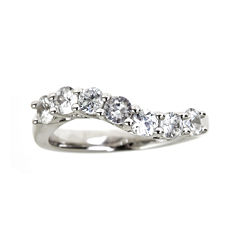 LIMITED QUANTITIES  Genuine White Zircon Sterling Silver Wave Ring