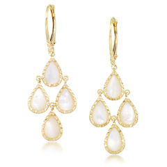 White Mother Of Pearl 10K Gold Chandelier Earrings