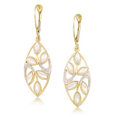 White Mother Of Pearl 10K Gold Drop Earrings