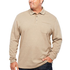 Van Heusen Long Sleeve Melange Polo Shirt Big and Tall