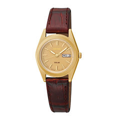 Seiko® Womens Gold-Tone Brown Leather Strap Solar Watch SUT120