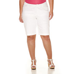 St. John's Bay® Twill Bermuda Shorts-Plus (11.5