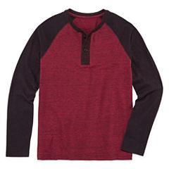 Arizona Long Sleeve Textured Henley Boys 8-20 & Husky