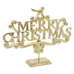 North Pole Trading Co. Nordic Frost Merry Christmas Tabletop Decor