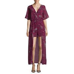 My Michelle Short Sleeve Floral Maxi Dress-Juniors