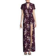 Trixxi 3/4 Sleeve Floral Maxi Dress-Juniors
