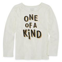 Okie Dokie Long Sleeve Crew Neck T-Shirt-Preschool Girls