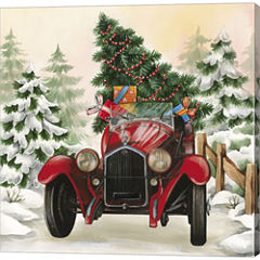 Christmas Tree Classic Car Ride I Gallery WrappedCanvas Wall Art On Deep Stretch Bars