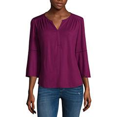 Liz Claiborne Long Sleeve Split Neck T-Shirt-Womens