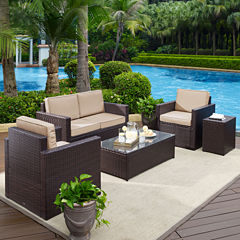 Palm Harbor 5-pc. Wicker Conversation Set With Cushions - Loveseat, Arm Chairs, Side Table and Glass Top Table