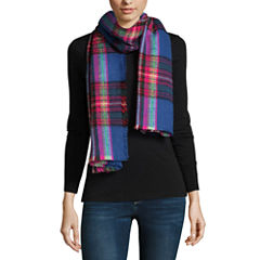 City Streets Plaid Blanket Knit Cold Weather Scarf