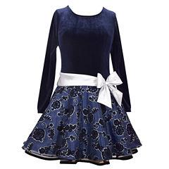 Bonnie Jean Long Sleeve Drop Waist Dress - Toddler Girls