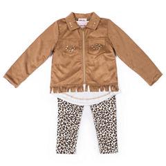 Little Lass Suede Fringe Jacket with Leopard Print Legging Set- Preschool Girls