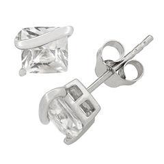 Princess White Sapphire Sterling Silver Stud Earrings