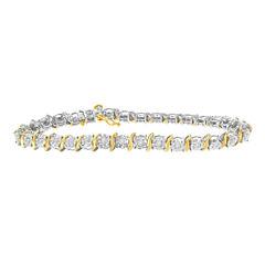Womens 1 CT. T.W. White Diamond 10K Gold Over Silver Tennis Bracelet