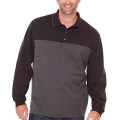 Van Heusen Long Sleeve Pattern Melange Polo Shirt Big and Tall
