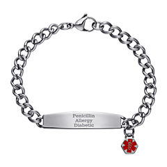Stainless Steel Personalized Medical ID Charm Bracelet