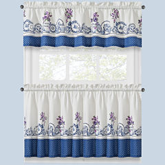 Afternoon Tea Two-Tone Kitchen Curtains