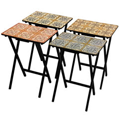 Oriental Furniture Victorian Tile 4-pc. TV Tray Table
