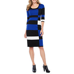 Danny & Nicole 3/4 Sleeve Sweater Dress