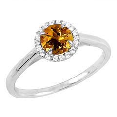Womens Genuine Orange Citrine Sterling Silver Cocktail Ring
