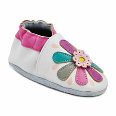Soft Sole Leather Crib Bootie Baby Shoes - Lily Flower