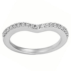 Enchanted By Disney Womens 1/4 CT. T.W. Genuine White Diamond 14K Gold Wedding Band