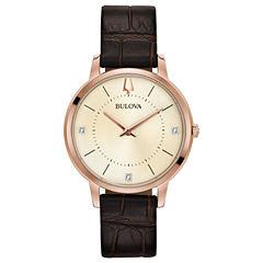 Bulova Womens Brown Strap Watch-97p122